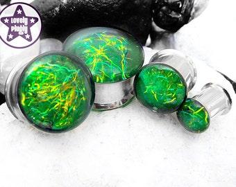 "Entanglement Galaxy Plug / Gauge Green Yellow Faux Dichroic Dichro Iridescent Colour Flash 3/4"", 7/8"", 1"" / 19mm, 20mm, 22mm, 24mm, 25mm"