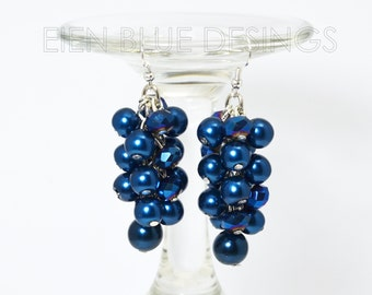 Royal blue cluster earrings, blue pearl earrings, chunky pearl earrings, royal chunky earrings, royal pearl earrings, royal pearl earrings