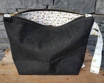 Project Bag | Knitting Bag | Knitting Project Bag | Zippered Project Bag | Wedge Bag | Shawl Knitting Bag | Gold Denim