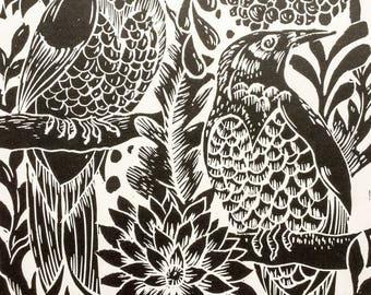 Birds Lino Print Black