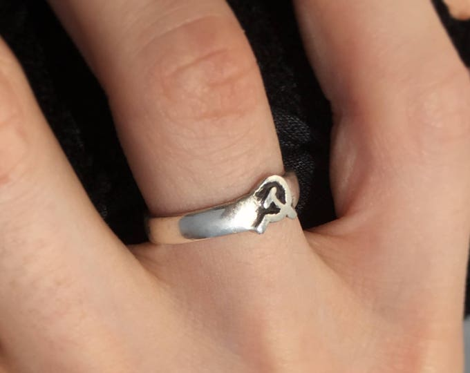 Featured listing image: Hammer and Sickle Ring – Handmade Sterling Silver, 14K Gold, Bronze and Brass