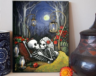Skeleton Romance Canvas Art Print 11x14 Day of the Dead by Bones Nelson - Our Hideaway