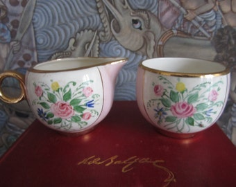 Vintage Miniature Open Sugar Bowl and Creamer Gold Trim Floral