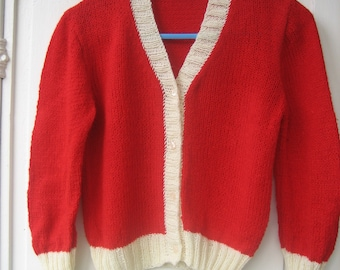 For children, size 4/6 years, red, ecru Wool Cardigan.
