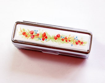 Floral lipstick case, Flower Lipstick case, Lipstick case with mirror, Lipstick holder, Lipbalm Case, gift for her, Flowers, floral (4875)