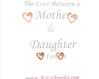 Mother Daughter 14k Solid Rose Gold Heart Studs Set. 2 Pairs 14k Rose Gold Heart Studs Set in Medium and Small. Push Present. Valentines Day