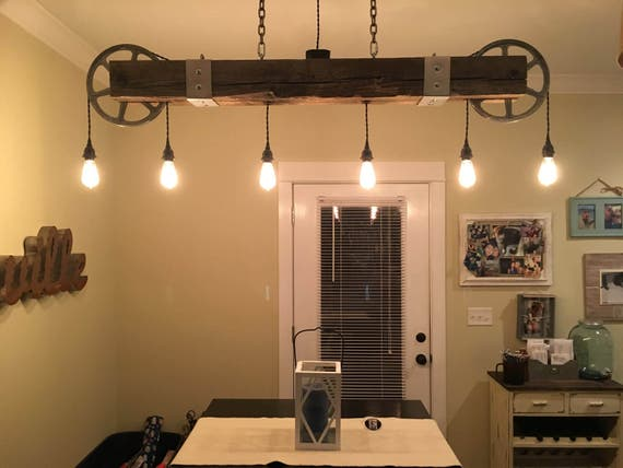 Vintage Reclaimed Wood Beam Chandelier With Zinc Pulleys And 6