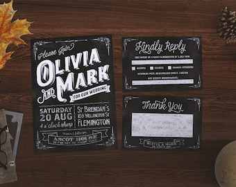 Wedding Invitation | Chalkboard Wedding Suite | Chalkboard Invitation | Rustic Invitation | Chalkboard Wedding Invite | Printable