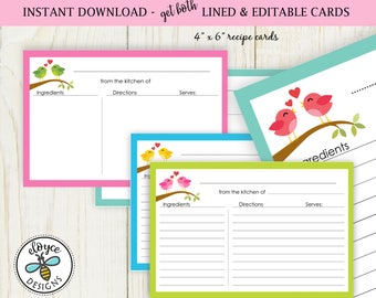 Birds love Recipe Cards 4x6 both lined and editable - Instant Download no. 809 bird recipe cards bridal love cards