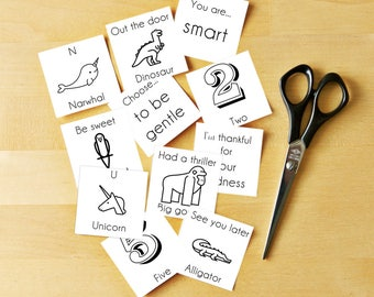 60 Lunch Box Notes - Back to School Printable - Lunchbox Notes Cards - Preschool Kids Lunch Notes - Instant Download - black and white
