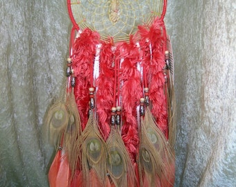 KOI - 7 Inch OOAK Dreamcatcher in Salmon Pink and Cream Peacock by FeatheredDreams1