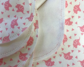 Pink Elephant Confetti kit hemstitch flannel baby blanket and burp cloth, double sided flannel receiving size 36x40. Perfect swaddle.