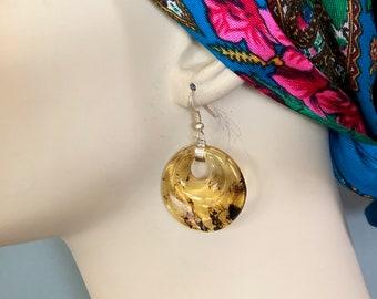 "Chiapas Amber hoop dangle earring w silver Mexican handmade elegant boho drop 2"""