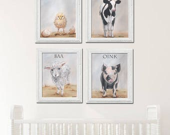 Farm Animal Print, Barn Animal Art Nursery Art Children Art Set Of 4, Chick Cow Sheep Pig, Gray Farmhouse Decor, 6 Sizes, Gender Neutral
