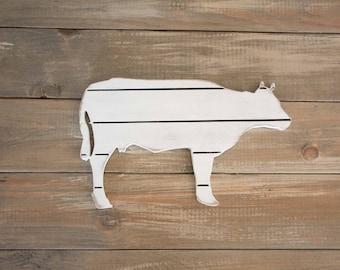 Cow Decor, Farmhouse Kitchen Cow Sign, Wooden Cow, Shiplap Animal, Wood Animal Sign, Shiplap Farm Decor, Rustic Kitchen Decor