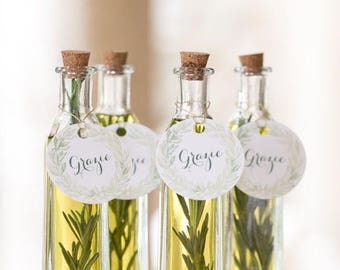 FREE SHIPPING 30 Bottles, Rosemary Wedding Birthday Olive Oil Favors, Infused Greek Olive Oil, Unique Olive Oil Favours, Amazing Favors