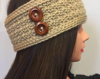 Beige/Tan Crocheted Ear Warmer/Headband Headwrap with Buttons