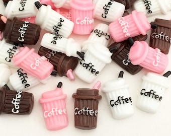 Coffee Cabochons - Brown, Pink & White (6 pcs) Kawaii Cabochons Resin Flat Back Fake Food Drink Slime Charms