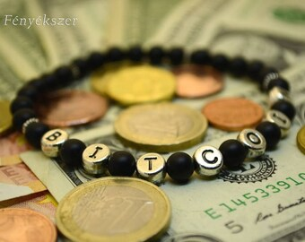 Bitcoin Bracelet Onyx Gemstone Jewelry Mans Bracelet Personalized Gift Birthday Present Cripto Money Letters Words Label Elastic Black Beads