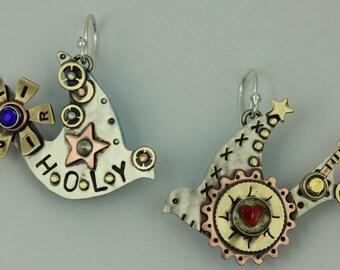 Holy Spirit Dove Earrings, Steampunk Holy Spirit Earrings, Religious Jewelry,  RP0332ER