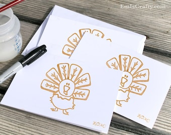 Happy Thanksgiving Turkey Card! Buy a card, feed a baby. Size A6 - various quantities available - includes envelopes.