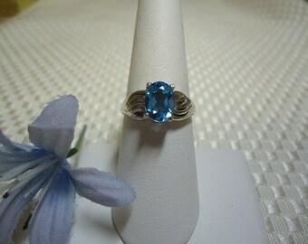 Oval cut Swiss Blue Topaz Ring in Sterling Silver   #550