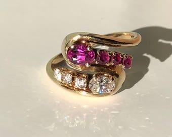 Ruby diamond ring Etsy