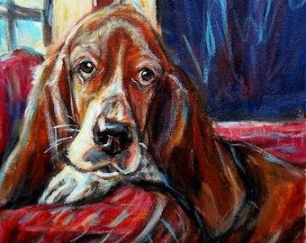 Basset Hound Custom Pet Portrait Painting dog Personalized pet artwork gift
