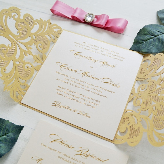 COURTNEY - Gold and Pink Laser Cut Wedding Invitation - Metallic Gold Square Gatefold w/ Pink Ribbon and Oval Diamond Buckle