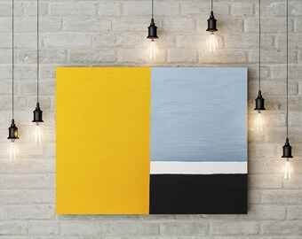 Abstract graphic fine art print in mustard yellow, gray and black