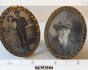 Instant genology....2 brass frames with glass