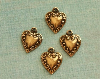 4 Antique Brass  Heart Charms 2457