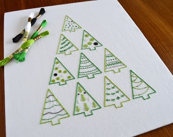 Tree Stack hand embroidery pattern + printable gift tags, modern embroidery, Christmas tree, embroidery patterns, PDF pattern