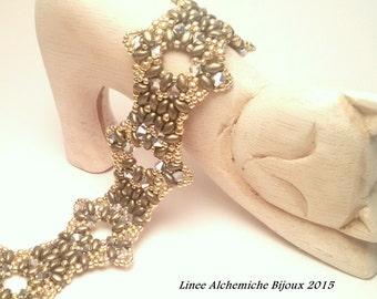 Schema di perline, bracciale con perline superduo e Swarovski, bracciale Samarcanda di Alkymnia, bracciale con superduo