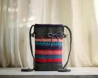 Color Mix Hand-woven Bag  - Wool Purse - Handmade Woman Bag - Pink Bag - Purple Bag - Crossbody Bag - Folk Bag - Valentine Gift Idea