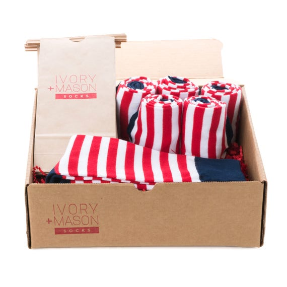 Groomsmen Socks Kit - Red White and Blue Striped - Premium Cotton - 6 Pairs