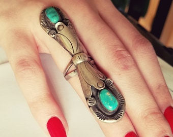 Eddie Nelson signed vintage long silver Navajo Ring with Turquoise size 6 womens
