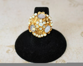 Vintage Faux Opals and Rhinestone Ring - Adjustable