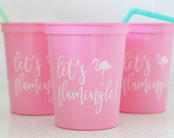 Flamingo Bachelorette- Let's Flamingle Cups -Party Favor- Flamingo Birthday- Tropical- Flamingo Decorations