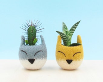 Succulent planter / Fox  / cactus pot / kitsune vase/ warming gift / Fox lover gift / home decor / cabin decor / Set of two