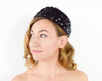 60s Black Hat | Sequin Pillbox Hat