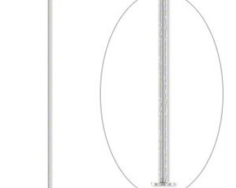 6108FY Headpin, antique silver plated brass, 2-inch, 24 gauge. Sold per pkg of 100.