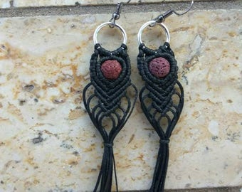 Macrame Boho Earrings with Lava Stones