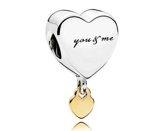 New Authentic Pandora Charm Bead 14K Gold Two Hearts Dangle 796558