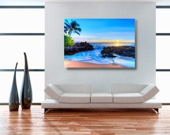 maui aluminum metal photo, wall art decor, wedding secret beach picture, tropical sunset, makena cove, palm tree, maui hawaii, hawaiian art
