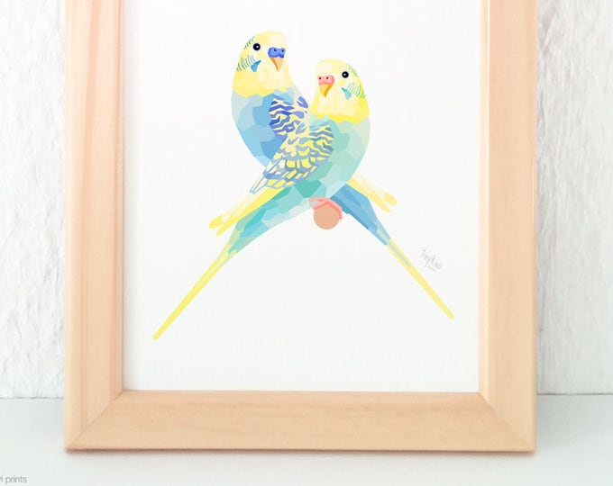 Budgie pair print, Aviary birds, Blue green budgie, Budgerigar illustration, Lovebirds, Geometric parrot, Pair of birds, Bird couple art