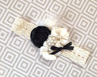 Black Tie Weddings, Black Tie hair piece, black tie headband, black tie flower girl, black headband baby, flower girl headband black