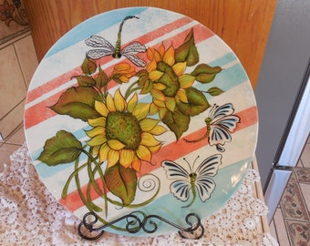 Sunflower & Stripe Large Serving Plate