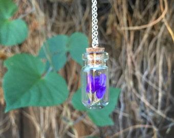 Purple Flowers Necklace | Fairy Garden Bottle Necklace | Sea Lavender Flower Terrarium Necklace