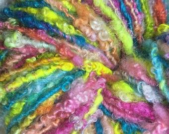 Carnival | Bulky | Lockspun | Handspun Art Yarn | Mega Skein | Large Skein | Bright | Beautiful | Soft | Textured Art Yarn | BFL Lockspun